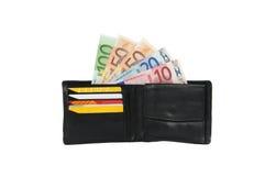 Carteira com os cartões do dinheiro e de crédito Fotos de Stock Royalty Free