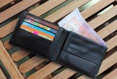 Carteira com os cartões do dinheiro e de crédito Foto de Stock Royalty Free