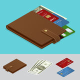 Carteira com os cartões do dinheiro e de crédito do dinheiro Conceito do pagamento Ilustração isométrica do vetor Fotografia de Stock Royalty Free
