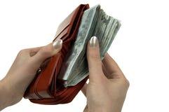 Carteira completamente do dinheiro Fotos de Stock Royalty Free