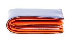 Carteira de couro azul e alaranjada Fotografia de Stock Royalty Free