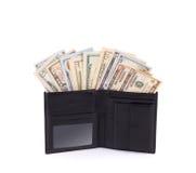 Carteira de couro com dólares Imagens de Stock