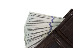 Carteira de couro com dólares no fundo branco Fotografia de Stock