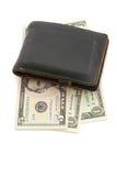 Carteira de couro com dinheiro Fotografia de Stock