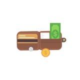 Carteira de couro com dinheiro Bolsa da ilustração do vetor Imagem de Stock Royalty Free