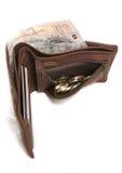 Carteira de couro de Brown com moeda inglesa Fotografia de Stock Royalty Free