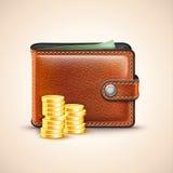 Carteira de couro do vetor com moedas Imagens de Stock Royalty Free