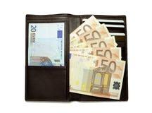 Carteira de couro preta completamente de euro- contas imagens de stock royalty free