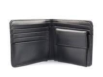 Carteira de couro preta isolada Fotografia de Stock