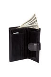 Carteira de couro preta isolada no branco Imagem de Stock Royalty Free