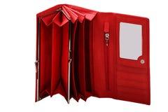 Carteira de couro vermelha das mulheres Fotografia de Stock