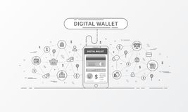 Carteira de Digitas e carteira móvel Ilustração do vetor ilustração stock