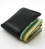 A carteira dobrada embalou com dinheiro, no branco Fotos de Stock Royalty Free