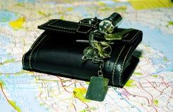 Carteira e chaves imagem de stock