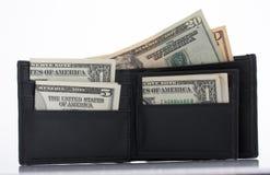 Carteira e dólares Foto de Stock Royalty Free