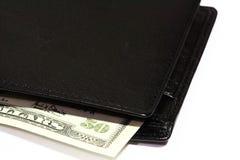 Carteira e dinheiro de couro Imagens de Stock