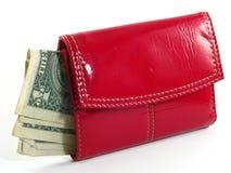 Carteira e dinheiro vermelhos Imagem de Stock Royalty Free