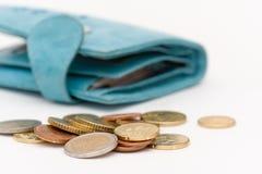 Carteira e euro- moedas Fotos de Stock Royalty Free