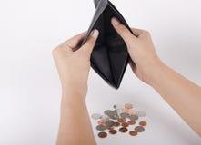 Carteira e moeda isoladas em um fundo branco Fotos de Stock