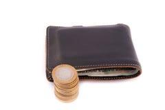 Carteira e moedas de couro Foto de Stock