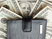 Carteira no montão do dinheiro Fotos de Stock