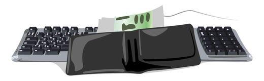 Carteira no teclado e no dinheiro ilustração stock
