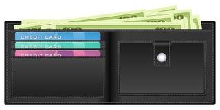 Carteira preta com dinheiro Imagem de Stock