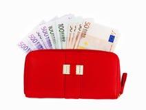 Carteiras de couro e moeda europeia, euro- Fotografia de Stock Royalty Free