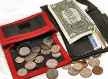 Carteiras, dólar, centavos Fotografia de Stock Royalty Free