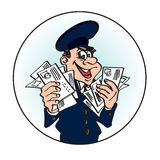 Carteiro alegre no tampão azul com as letras em suas mãos Imagens de Stock Royalty Free