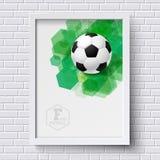 Cartel abstracto del fútbol Marco de la imagen en la pared de ladrillo blanca con foo Foto de archivo libre de regalías