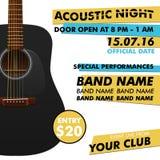 Cartel acústico del funcionamiento de la noche en su demostración del concierto del músico del indie del club con la guitarra rea ilustración del vector