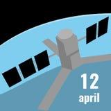 Cartel al día de vuelo espacial humano Imágenes de archivo libres de regalías