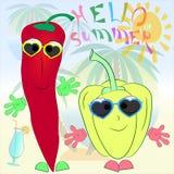 Cartel alegre del verano de la historieta de las pimientas imagen de archivo