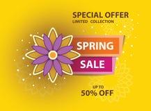 Cartel amarillo de la venta de la primavera fotos de archivo libres de regalías