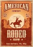 Cartel americano del rodeo del vaquero stock de ilustración