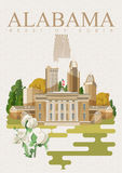 Cartel americano del viaje de Alabama Corazón del sur libre illustration