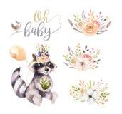 Cartel animal de la acuarela del mapache bohemio lindo del bebé para nursary con los ramos, arbolado del alfabeto de los niños ai ilustración del vector