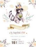 Cartel animal de la acuarela del mapache bohemio lindo del bebé para nursary con los ramos, arbolado del alfabeto de los niños ai libre illustration