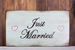 Cartel apenas casado Imagenes de archivo