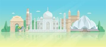 Cartel arquitectónico del horizonte de la India ilustración del vector