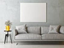 Cartel ascendente falso en la sala de estar del concepto del minimalismo, diseño escandinavo