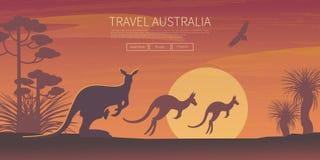 Cartel australiano del paisaje ilustración del vector