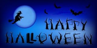 Cartel azul de Halloween del vector con el fondo de la luna stock de ilustración