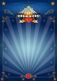 Cartel azul mágico del circo Fotografía de archivo