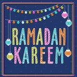 Cartel, bandera o aviador para Ramadan Kareem Fotografía de archivo