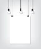 Cartel blanco en la pared y el bulbo stock de ilustración