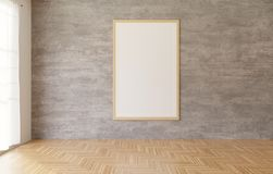 cartel blanco y marco que cuelgan en el fondo del muro de cemento en el cuarto, piso de madera, cortina blanca de la representaci libre illustration