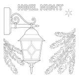 Cartel blanco y negro de la noche de Noel con la estrella sola, lámpara de calle stock de ilustración