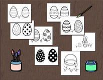 Cartel blanco y negro del huevo de Pascua del vector separado en capas Página del libro de colorear para los niños Ejemplo con un stock de ilustración